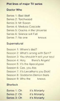 Oh, it's Moriarty ! - Doctor Who Season 7: The Impossible Girl. Season 8: 'Am I a good man?' Sherlock Season 4: A Tragedy.