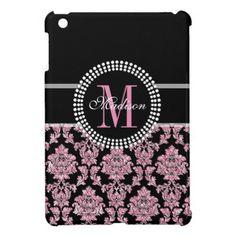 Girly Pink glitter and black Damask Monogrammed iPad Mini Case  $42.20  by storechichi  - custom gift idea