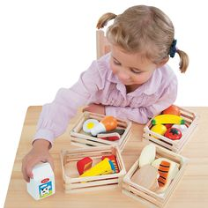 Shop Melissa & Doug Food Groups - Wooden Play Food, The Original (Pretend Play, 21 Hand-Painted Wooden Pieces and 4 Crates, Great Gift for Girls and Boys - Kids Toy Best for and 6 Year Olds). Free delivery and returns on eligible orders of or more. Learning Toys For Toddlers, Teaching Kids, Kids Playing, Toddler Preschool, Toddler Toys, Toddler Gifts, Kids Toys, Basic Food Groups, Wooden Play Food