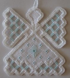 Hardanger Angel Ornament Baby Blue by twistedthreads on Etsy, $11.00