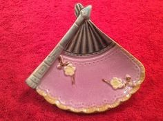 Gorgeous Antique Majolica Lilac Fan Butter Pat c1800's, gm860