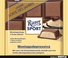 Ritter Sport funny funny sayings picture pictures Monday depressants - Schokolade Witty Quotes, Funny Quotes, Oufits Casual, Sport Quotes, Sports Humor, Sports Illustrated, Physical Activities, Really Funny, Picture Quotes