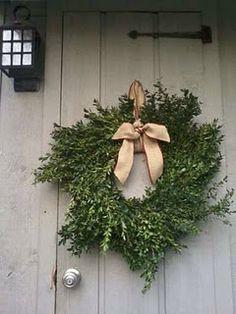 Elegant wreath on the front door.