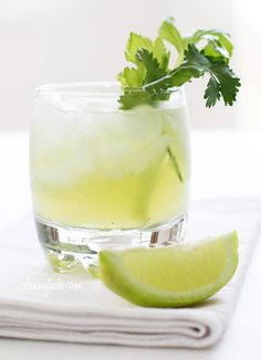 Celery Cilantro Cocktail recipe - Fresh squeezed lime juice, celery, cilantro and vodka are muddled together with a simple syrup.