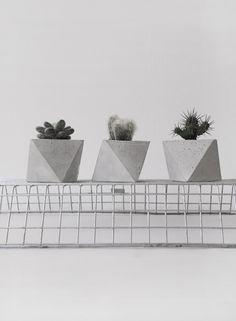 Frauklarer octahedron concrete planter, handmade cachepot, modern geometric…