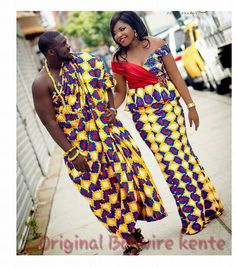 Today is all about our favorite Ghanaian wedding looks! The couples rock the fabulous Kente in different colors and designs and the brides added lots of pretty little things that… African Attire, African Wear, African Dress, African Suits, African Style, Ghana Dresses, Kente Dress, Ghana Fashion, Africa Fashion