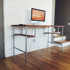 furniture-brown-varnished-wooden-computer-desk-with-chrome-iron-pipe-frame-mixed-white-painted-bricks-wall-art-deco-computer-desk.jpg (1500×1500)