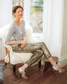 Jenna Lyons in stripes & sequined pants.