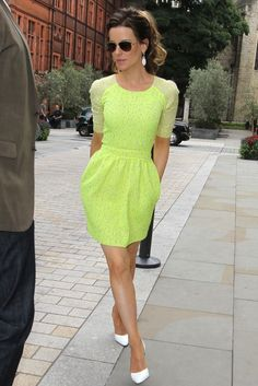 Tailored Neon Dress. Love that it has sleeves for a not-yet summer day. Cute!