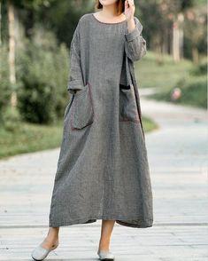 Women 's Small grid Dresses, Oversized Linen dress, maxi dress in Plaid dress, Linen dress long, maternity dress, dresses for women