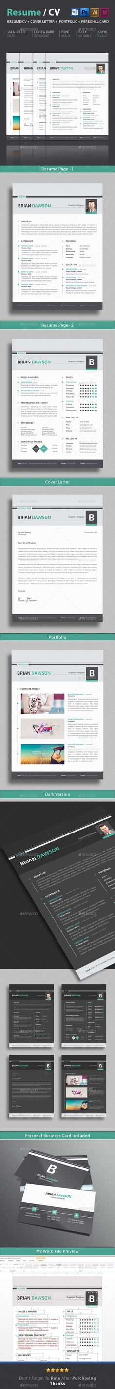 Elegant ResumeCv Resume Template Psd Indesign Indd Download
