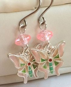 Silver Butterfly Earrings Spring Colors Pastel Pink Green Peach Plated Easter #Unbranded #DropDangle