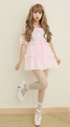 Sweet pink lace princess short dress~ for more Kawaii clothes follow my 'Princess style fashion aesthetic' board!~ ^-^!