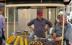 roasted corn and chestnuts vendor in Istanbul