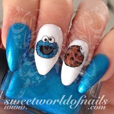 Cookie Monster Nail Art Nail Water Decals Water Slides 20 water decals on a clea. Cookie Monster Nail Art Nail Water Decals Water Slides 20 water decals on a clear water transfer wh Simple Nail Art Designs, Best Nail Art Designs, Nail Designs Spring, Gel Nail Designs, Beautiful Nail Designs, Fancy Nails, Cute Nails, Pretty Nails, Trendy Nail Art