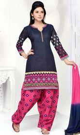 Dark Blue Color Shade Art Silk Salwar Kameez