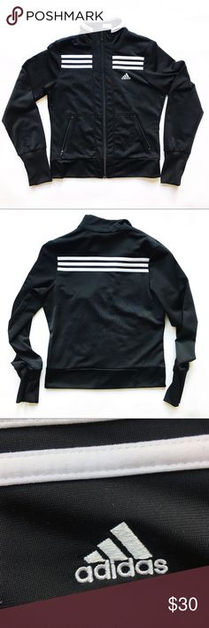 """Adidas Black and White Zip-Up Hoodie Adidas black and white classic stripes zip up hoodie Front zip closure  Slim fit  Zip up front pockets Classic stripes detail  Logo in the front Excellent Used Condition  • Approximate measurements unstretched • Length (shoulder to hem): 21"""" • Bust (pit to pit): 17"""" • Waist (laying flat across): 15"""" Sleeves (pit to cuff): 21"""" adidas Jackets & Coats"""