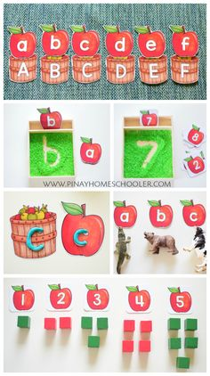 Apple Letter and Number Cards Apple Activities, Autumn Activities For Kids, Counting Activities, Kids Learning Activities, Kindergarten Activities, Writing Activities, September Activities, Montessori Activities, Alphabet Activities