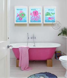 Ocean Theme Prints Personalized Kids Wall Art, Bathroom art, Kids Print set of 3 8 x10 Art for Children, Sea Fish Octopus Whale