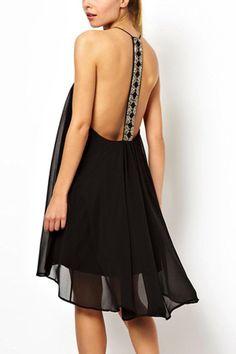 Black Backless High Low Cami Slip Dress