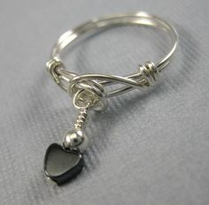 Wire Wrapped Dangle Ring Sterling Silver and by holmescraft, $19.00