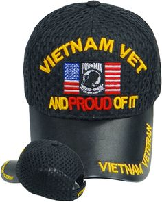7ad44bba9ae6a Vietnam Veteran Cap Black LEATHER Vet Proud of It Military Hat with American  Flag and POW MIA