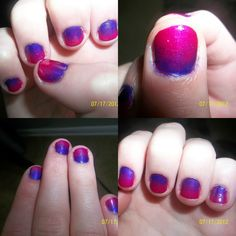Step #1:Find a main color and paint all nails that color.    Step #2:Find another colored nail polish.    Step #3:Paint some nail polish on a makeup sponge.     Step #4:Dab nail polish on with your makeup sponge, put pressuer on the bottom and gradualy use less pressure as you move to the top of your nail.    Step #5:Use a q'tip with nail polish remover on and clean the skin around your nails.     Step #6:When nails are dry pun on a clear over coat or log lastig results