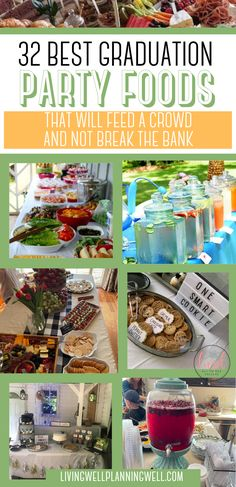 These graduation party food ideas are brilliant, easy and won't break the bank. Save time with the graduation party planning checklist. These graduation party foods will feed your crowd and wow your guests. Graduation Party Desserts, Outdoor Graduation Parties, Graduation Party Planning, Graduation Party Themes, Party Food On A Budget, Party Food Buffet, Theme Ideas, Party Ideas, College Tips