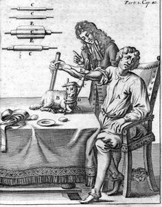 "An early blood transfusion from lamb to man, ca 1705. From ""Tryals Proposed by Mr. Boyle to Dr. Lower, to be Made by Him, for the Improvement of Transfusing Blood out of One Live Animal into Another,"" Mr. Boyle"