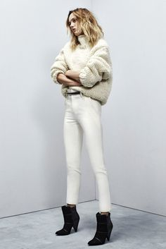 White jeans with chunky sweater  //  Iro - Fall 2015 Ready-to-Wear - Look 2 of 28