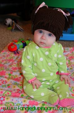 6 to 12 months Cabbage Patch Kid Hat with Pig Tails Choose your own color. $25.00, via Etsy.