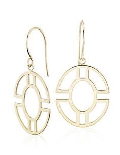 These geometric dangle drop earrings are eternally wearable. Crafted in bright 14k yellow gold with a lightweight, open pattern.