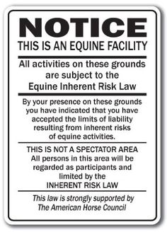 AmazonSmile: Supplemental Equine Liability Sign warning statute horse barn stable farm signs: Patio, Lawn & Garden