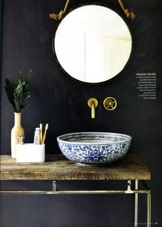 A beautiful white and blue crackle porcelain basin with and Oriental pattern on the outside from the London Basin Company. http://www.londonbasincompany.com/ Essential Kitchen Bathroom Bedroom November 2016