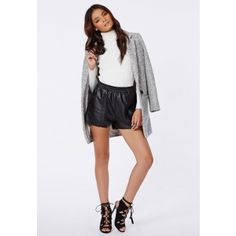 Anabelle Faux Leather Runner Shorts Black - Shorts - Missguided
