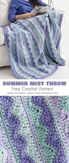 Knitting and Crochet Patterns - Summer Mist Blanket Free Crochet PatternSummer Mist Blanket Free Crochet Pattern I'm not crazy about the colors, but the pattern is very pretty.Crocheting is such a wonderfulNo matter the season, keep a ray of warmth w Crochet Pattern Free, Crochet Motifs, Crochet Stitches, Sewing Stitches, Bag Crochet, Crochet Crafts, Crochet Projects, Crochet Summer, Blanket Crochet