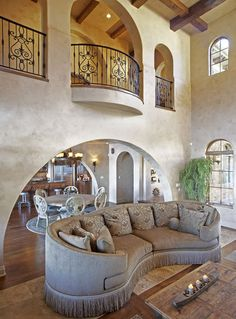 Use this idea with dark and light hardwoods for open living room