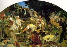 Work by Ford Madox Brown (1865) Manchester Art Gallery> see the gallery website for an interactive version aimed at KS2 (http://manchesterartgallery.org/fmb/fmb_2015.html).