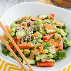 Empowered Noodle Bowl with Thai Peanut Sauce from The Oh She Glows Cookbook. Empowered Noodle Bowl.