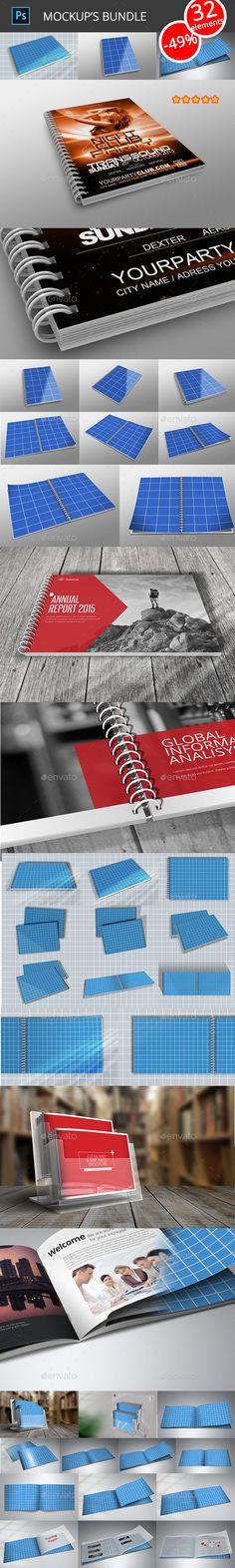 Publications MockUp's Bundle — Photoshop PSD #publication #book • Available here → https://graphicriver.net/item/publications-mockups-bundle/16395940?ref=pxcr