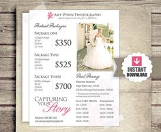 Photography Price List Session Packages Pricing Sheet by FotoLuxe Photography Price List, Wedding Photography Pricing, Wedding Photography Packages, Photography Marketing, Photography Packaging, Photography Ideas, Photography Templates, Photography Business, Trendy Wedding