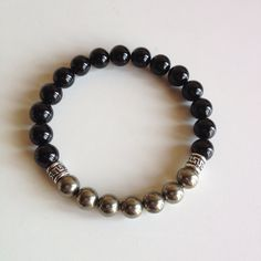 Intellect - Men's Genuine Sterling Silver Pyrite & Black Onyx Bracelet - Positive Energy on Etsy, $28.00