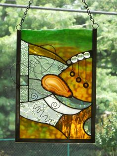 Contemporary Agate Stained Glass Panel/Suncatcher. $60.00, via Etsy.