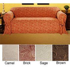 Kilkenny Jacquard Sofa Slipcover .. in camel, sage or brick?
