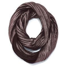 "mark. Chilly Reception Scarf st www.deannasbeautyshop.com #metallic #infinityscarf Acrylic. Imported. 34"" L x 14"" W."