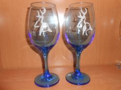 NEW ITEM! - Etched Wine Goblets - Couples Gift Idea by TreasuresShop on Etsy