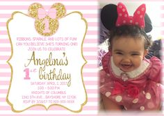 1stbirthdayinvitationminniemouse Minnie mouse Mice and