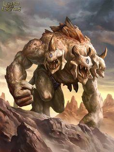 Artist: Yin Yuming - Title: Unknown - Card: Tri-headed Ogre Rebel