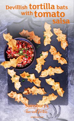 Tortilla wraps, smoked paprika and olive oil are the only ingredients needed to make this tortilla bats recipe. Use biscuit cutters to make quick work of the bat shapes and serve this ghoulish Halloween appetiser with homemade tomato salsa. Perfect for any Halloween party.