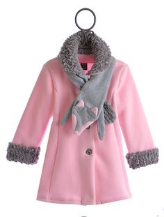 Mack and Co Fleece and Faux Fur Coat for Girls Pink Fox $106.00